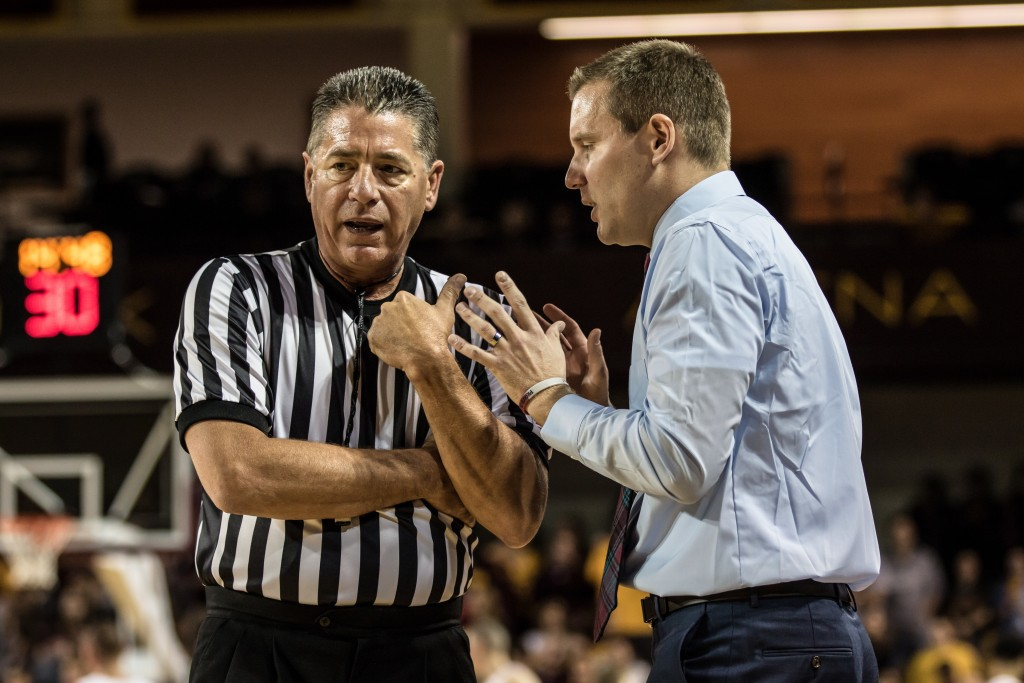 Sam Hargraves, right, debates with the ref during the game at McGuirk Arena in Mt. Pleasant, Michigan, Tuesday, November 17, 2015.