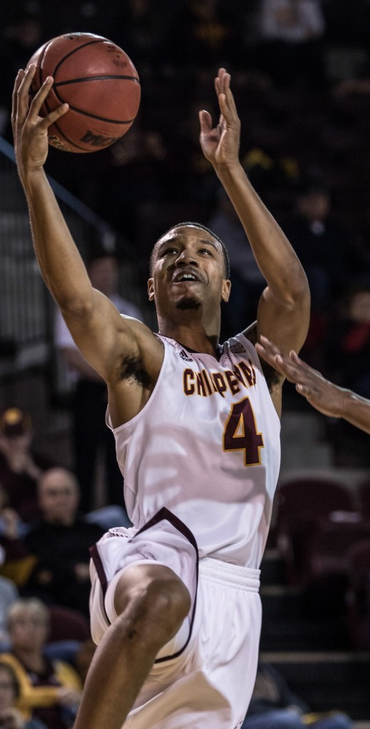 Rayshawn Simmons, 4, goes up for the lay up during the game against McNeese State University in McGuirk Arena on the campus of Central Michigan University, Mt. Pleasant, Michigan, Monday, November 30, 2015.
