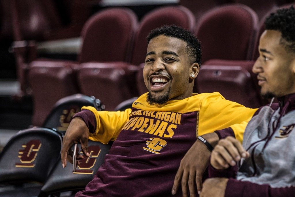 Marcus Kenne smiles for a picture before the game against Ferris State University in McGuirk Arena on the campus of Central Michigan University, Mt. Pleasant, Michigan, Saturday, November 7, 2015.