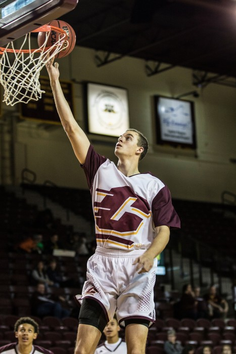 Luke Meyer goes up for a layup before the game against Ferris State University in McGuirk Arena on the campus of Central Michigan University, Mt. Pleasant, Michigan, Saturday, November 7, 2015.