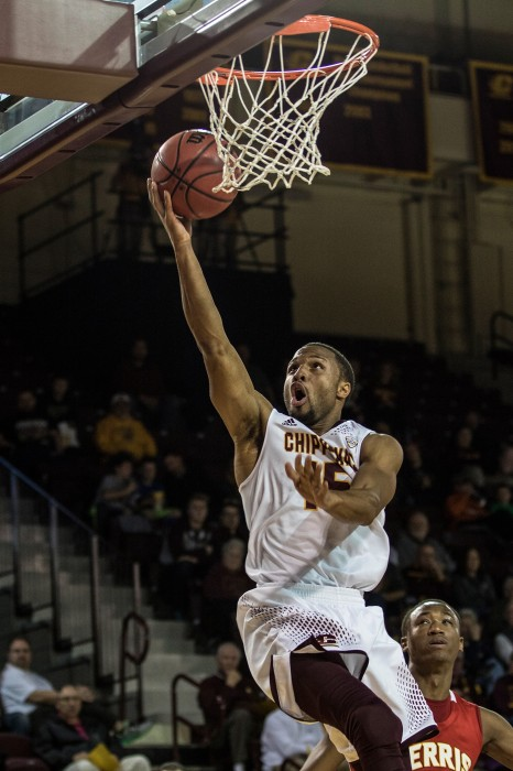 Chris Fowler, 15, goes up for a layup during the game against Ferris State University in McGuirk Arena on the campus of Central Michigan University, Mt. Pleasant, Michigan, Saturday, November 7, 2015.