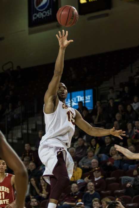 Chris Fowler, 15, goes up for a floater during the game against Ferris State University in McGuirk Arena on the campus of Central Michigan University, Mt. Pleasant, Michigan, Saturday, November 7, 2015.