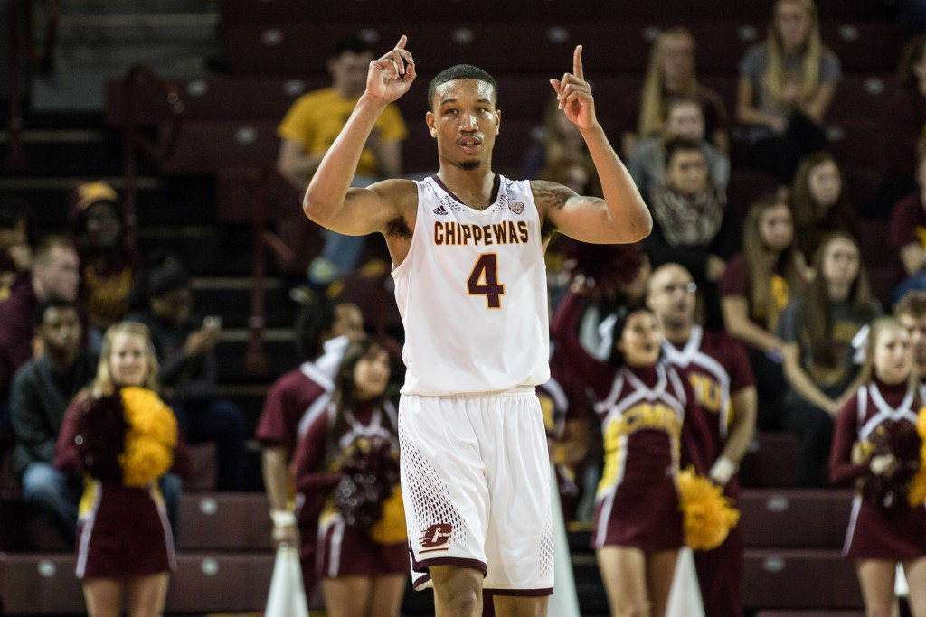 Rayshawn Simmons, 4, calls for the 1-and-1 foul during the game against Ferris State University in McGuirk Arena on the campus of Central Michigan University, Mt. Pleasant, Michigan, Saturday, November 7, 2015.
