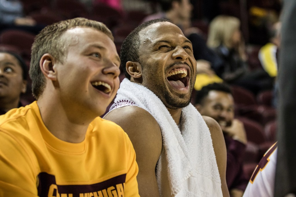 Tanner Beachnau, left, and Chris Fowler, right, share a laugh during the game against Ferris State University in McGuirk Arena on the campus of Central Michigan University, Mt. Pleasant, Michigan, Saturday, November 7, 2015.