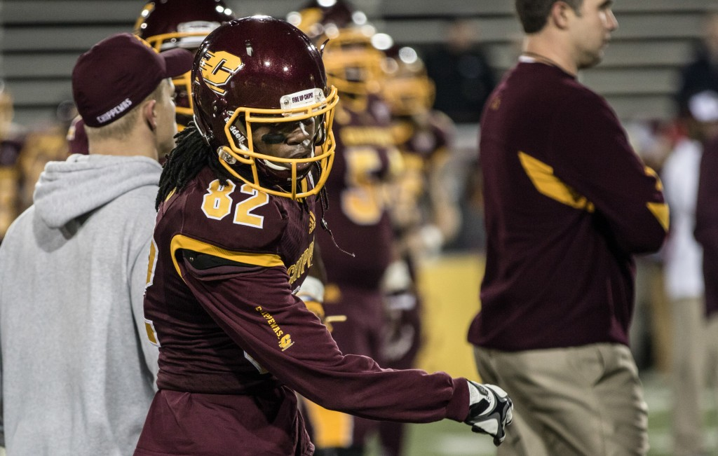 Corey Willis dances before the game against the University of Toledo at Kelly Shorts Stadium, on the campus of Central Michigan University, Mt. Pleasant, Michigan, Tuesday, November 10, 2015.