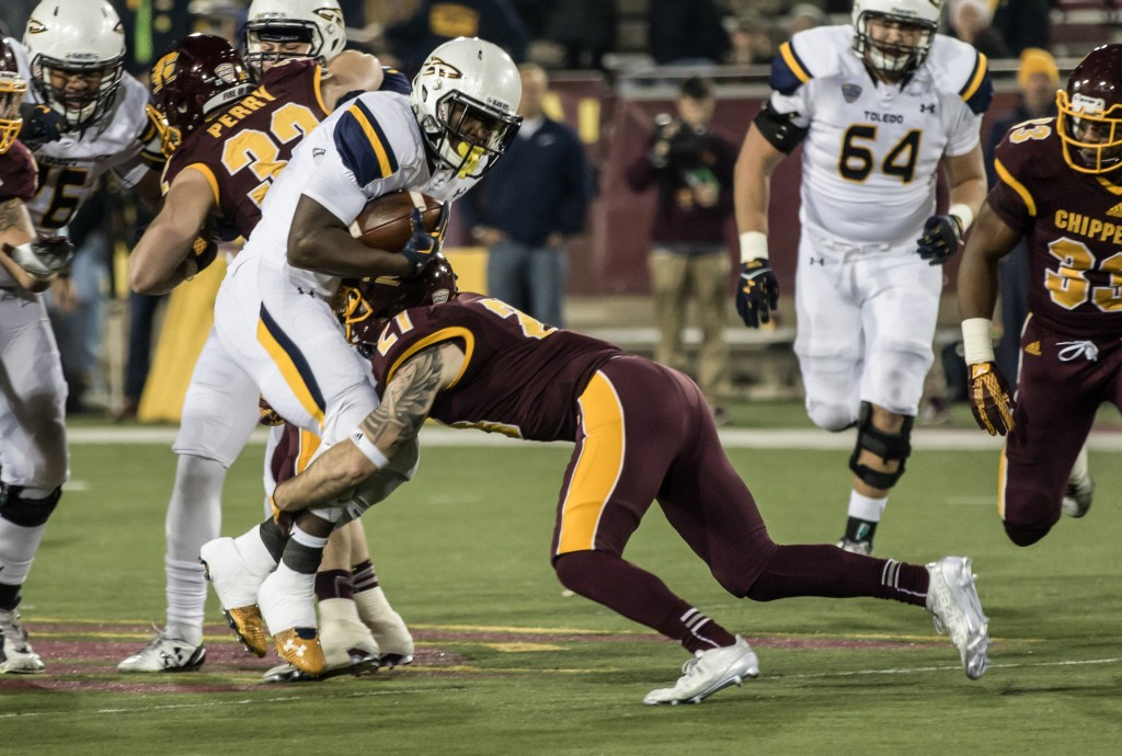 during the game against the University of Toledo at Kelly Shorts Stadium, on the campus of Central Michigan University, Mt. Pleasant, Michigan, Tuesday, November 10, 2015.