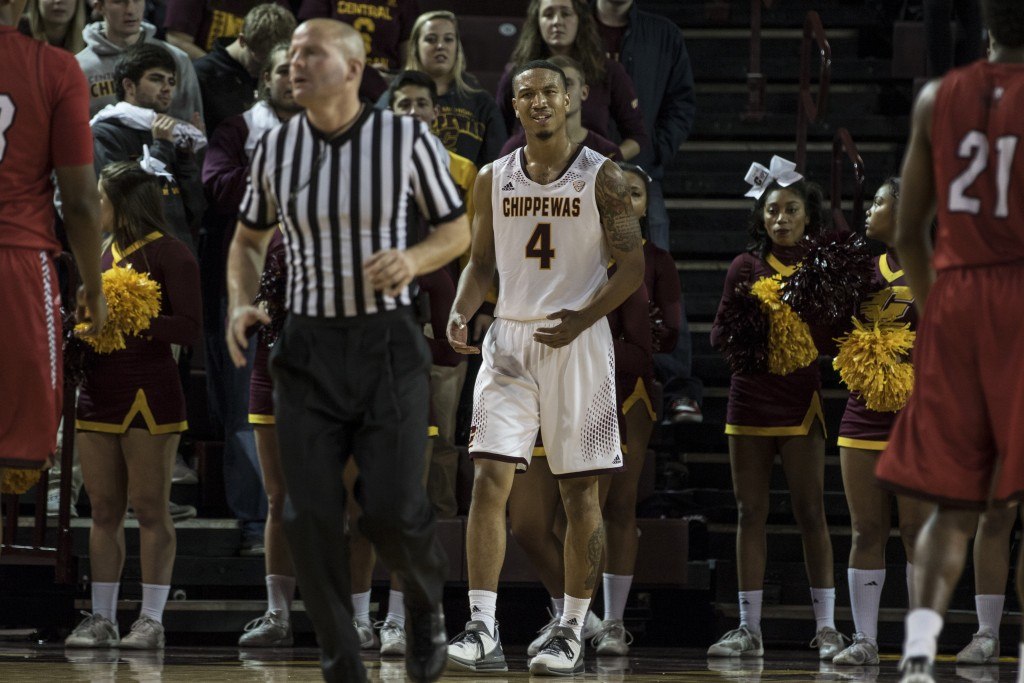 Rayshawn Simmons, 4, questions the ref during the game against Jacksonville State University in McGuirk Arena, on the campus of Central Michigan University, Mt. Pleasant, Michigan, Friday, November 13, 2015.