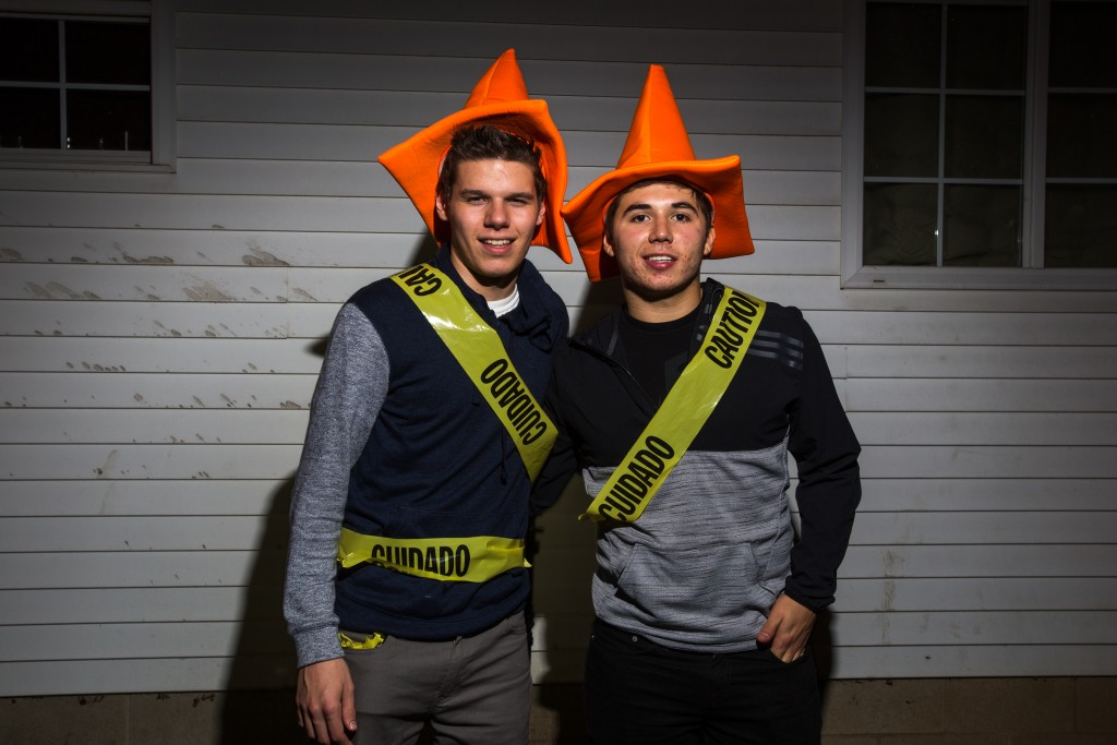 From left, Freshman Joey Walsh of Northwood and Alex Puente of Albion dress as construction cones. (Photo | Andraya Croft)