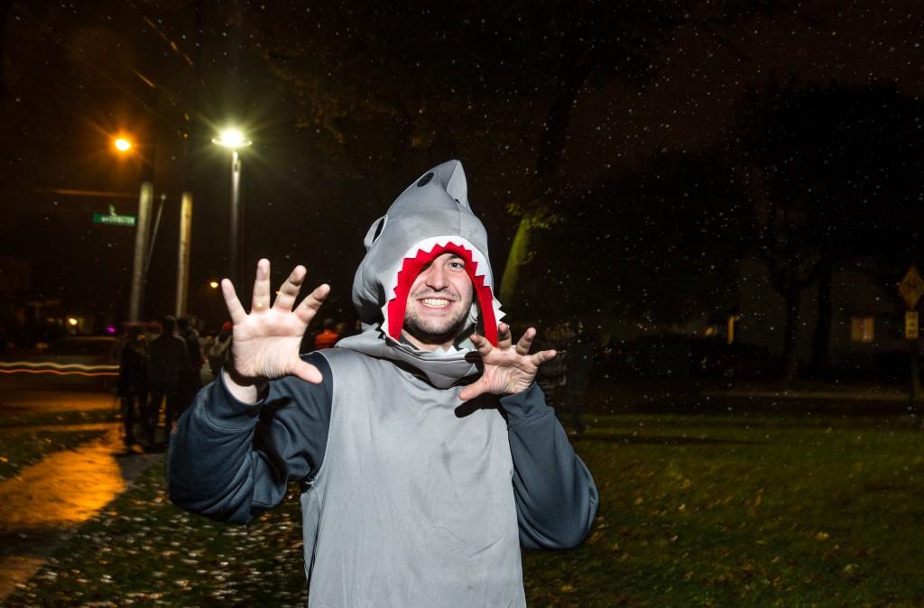 Fifth-year Senior Bryan Albers as a shark. (Photo | Andraya Croft)