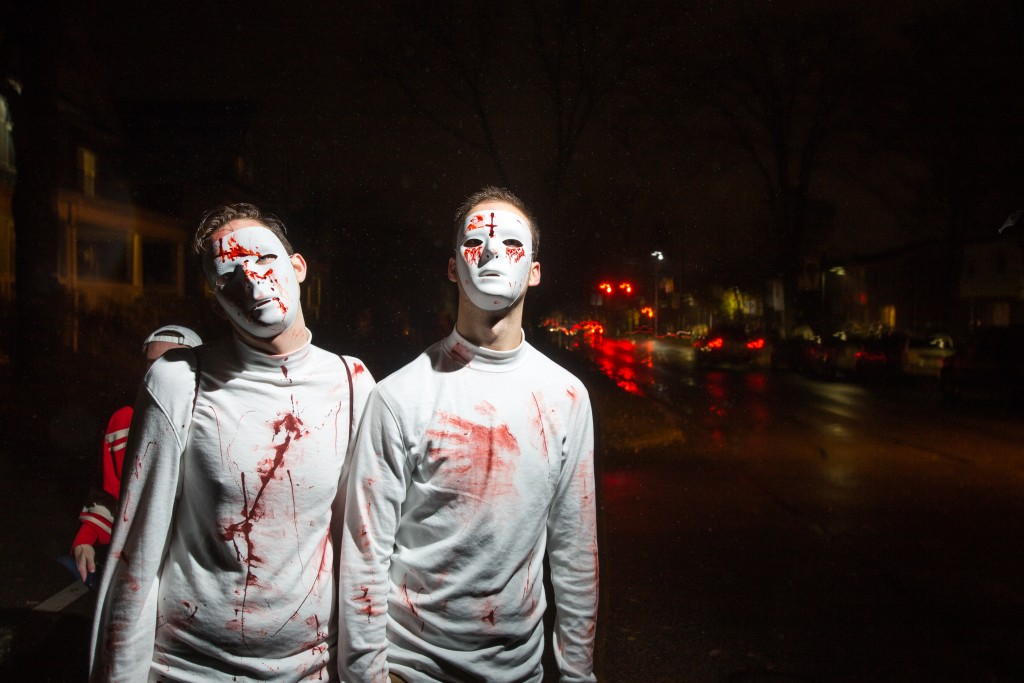 "From left, Junior Matt Valentino of CMU and Junior Jason Swee of Grand Valley as ""murderers who don't actually kill people"". (Photo 