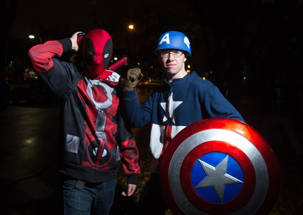 From left, Freshmen Steve Tiemann as Captain America and Bryce Tufts as Deadpool. (Photo | Andraya Croft)