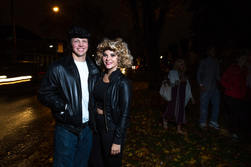 From left, fifth-year Seniors Scott Pummill as Danny and Lindsey Roy as Sandy from the movie Grease. (Photo | Andraya Croft)