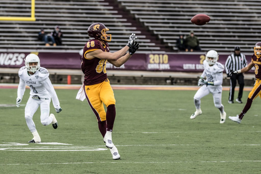 Jesse Kroll, 88, makes the catch in open space during the game against Eastern Michigan University at Kelly / Shorts Stadium on the campus of Central Michigan University, Mt. Pleasant, Michigan, Friday, November 27, 2015.
