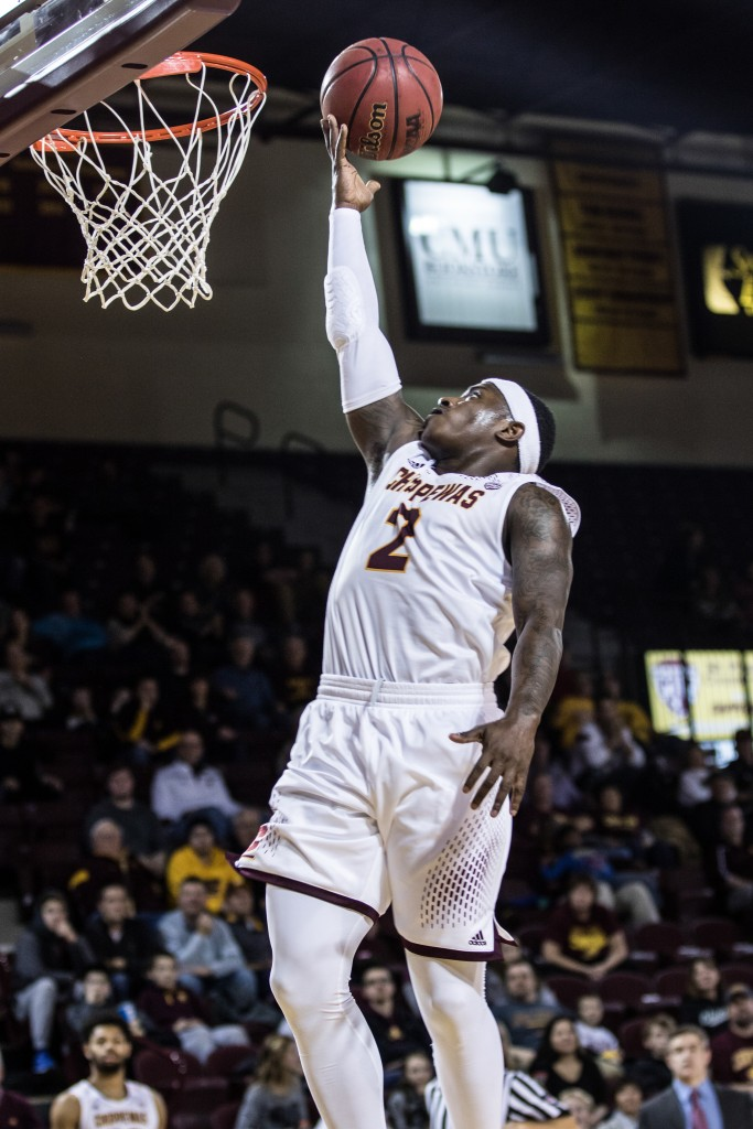 Braylon Rayson, 2, finger rolls the ball in during the game against Texas Southern University at McGuirk Arena on the campus of Central Michigan University, Mt. Pleasant, Michigan, Saturday, December 12, 2015. | Rich Drummond
