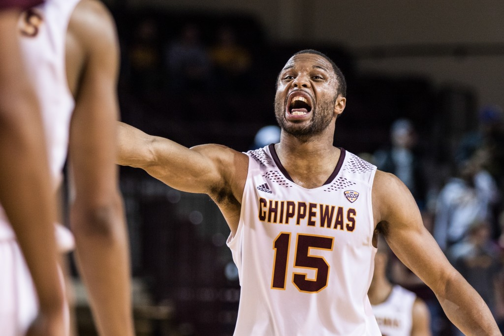 Chris Fowler, 15, calls out a defensive play during the game against Texas Southern University at McGuirk Arena on the campus of Central Michigan University, Mt. Pleasant, Michigan, Saturday, December 12, 2015. | Rich Drummond