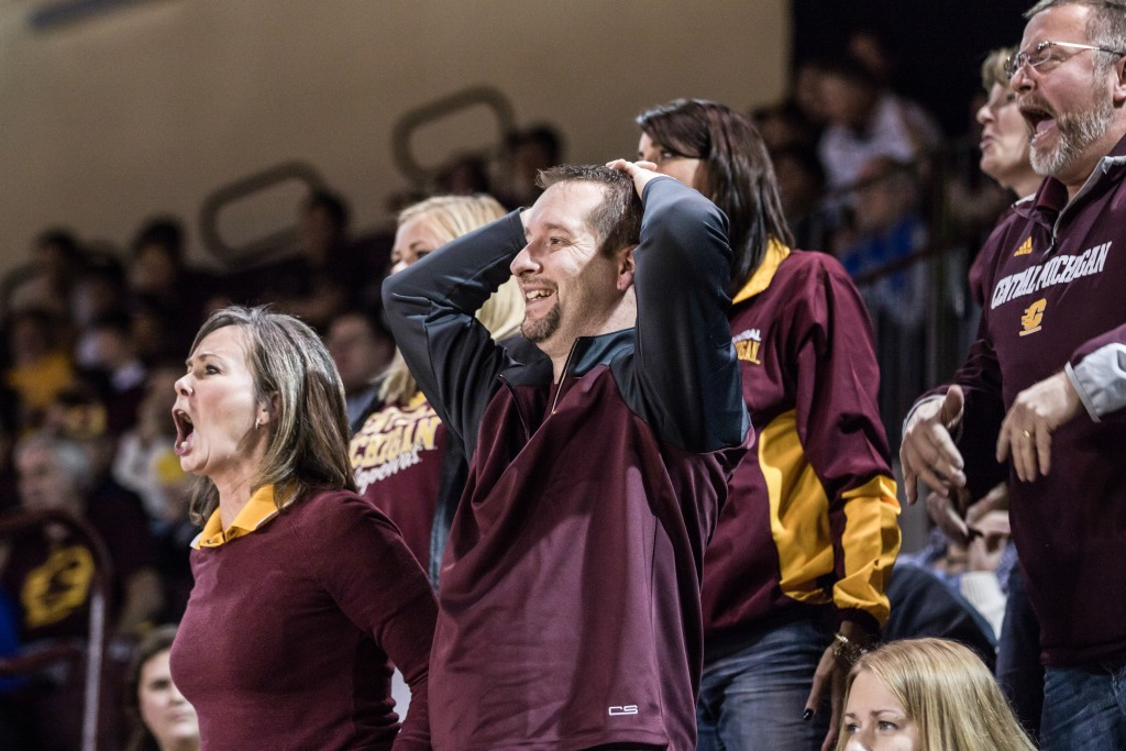 A group of fans react to a questionable call during the game at McGuirk Arena on the campus of Central Michigan University, Mt. Pleasant, Michigan, Saturday, December 12, 2015. | Rich Drummond