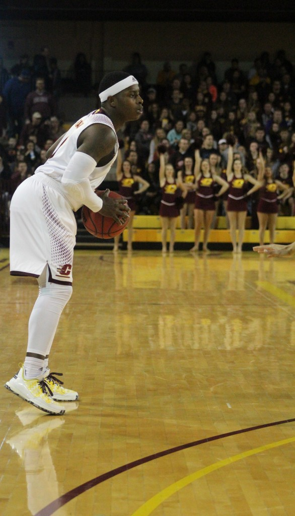 Guard Braylon Rayson (2) lines up for a three pointer in the first half of Central Michigan's 72-49 victory against Ohio University.