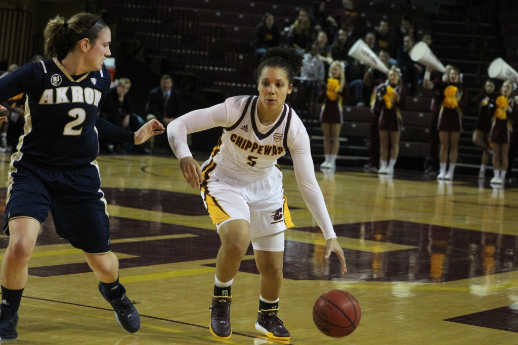 Guard Aleah Swary (5) drives the lane against Akron in Central Michigan's 81-60 victory.