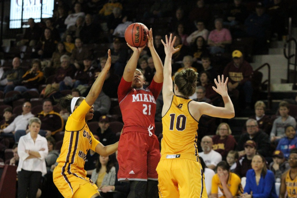 Guards Da'Jourie Turner (1) and Cassandra Breen (10) play defense against Miami University at McGurick Arena on the campus of Central Michigan University on January 30, 2016.