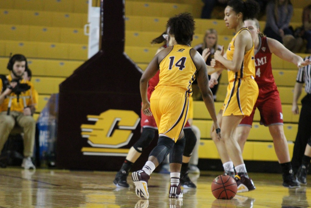 Guard Amani Corley awaits the screen from Tinara Moore against Miami University at McGurick Arena on the campus of Central Michigan University on January 30, 2016.
