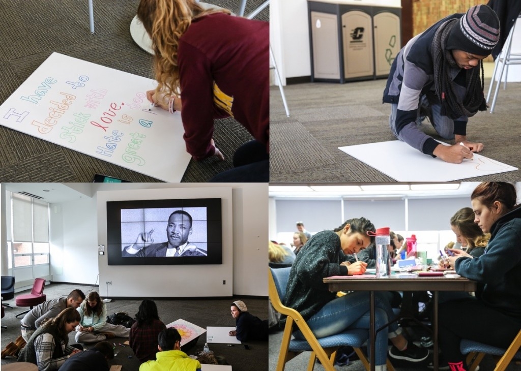Students volunteer for MLK Day of service by doing various service activities and creating posters for the march on the campus of Central Michigan University on January 18, 2016.