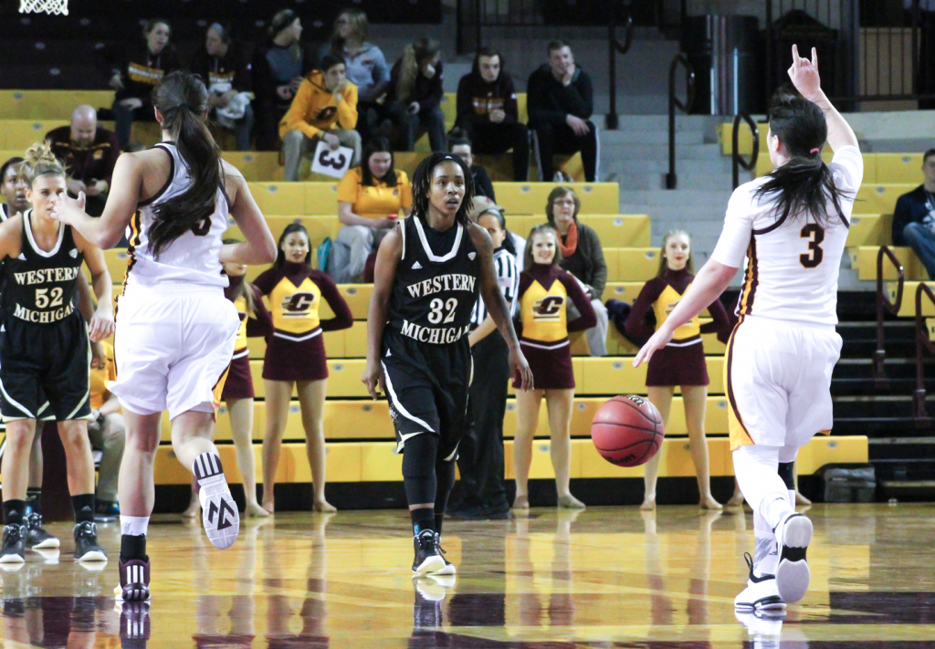 Guard Presley Hudson (3) controls the floor in the first quarter against Western Michigan University.