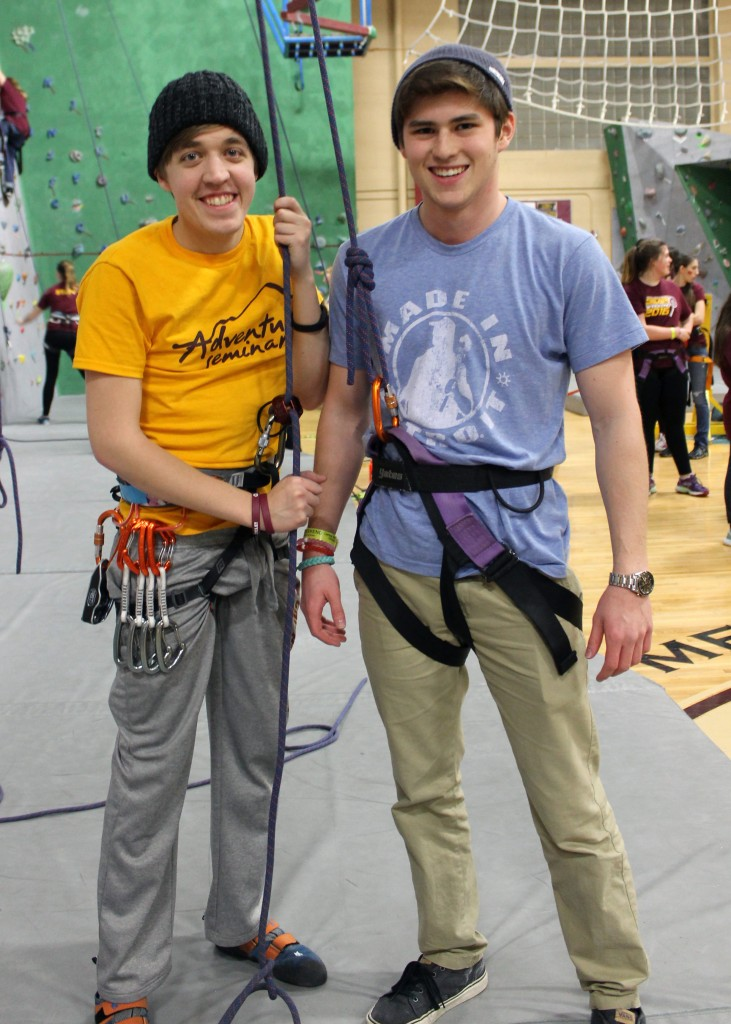 Drake Smarch from Royal Oak (Senior at CMU (left)) & Bryan Caragay from Plymouth MI (right) (19) pose for a portrait in between rock climbing at Sibling's Weekend on the campus of Central Michigan University on January 31, 2016. (Photo | Hailey Polidori)
