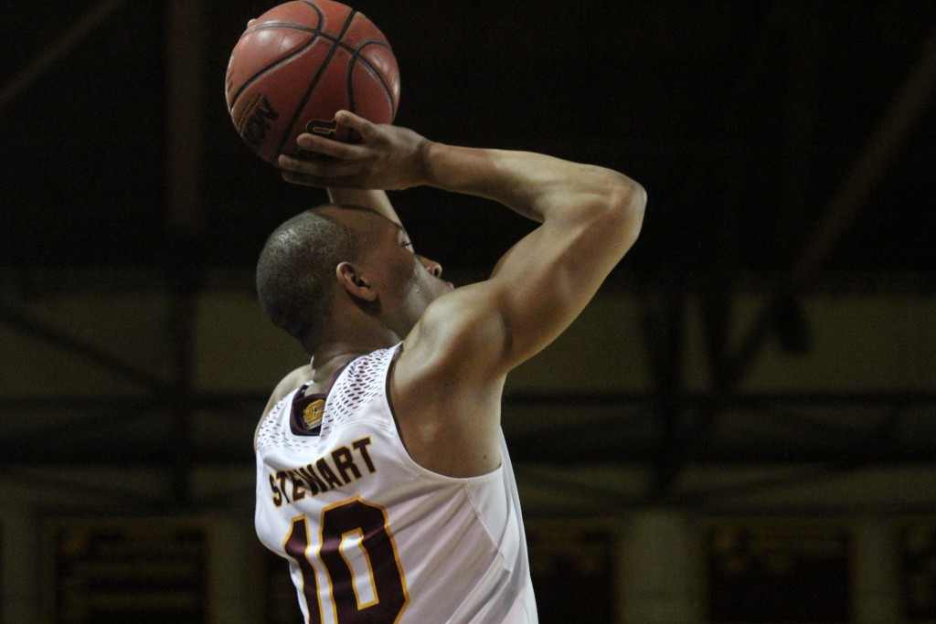 Guard Austin Stewart (10) shoots a three pointer in win against Kent State at McGurick Arena on the campus of Central Michigan University on February 3, 2016.
