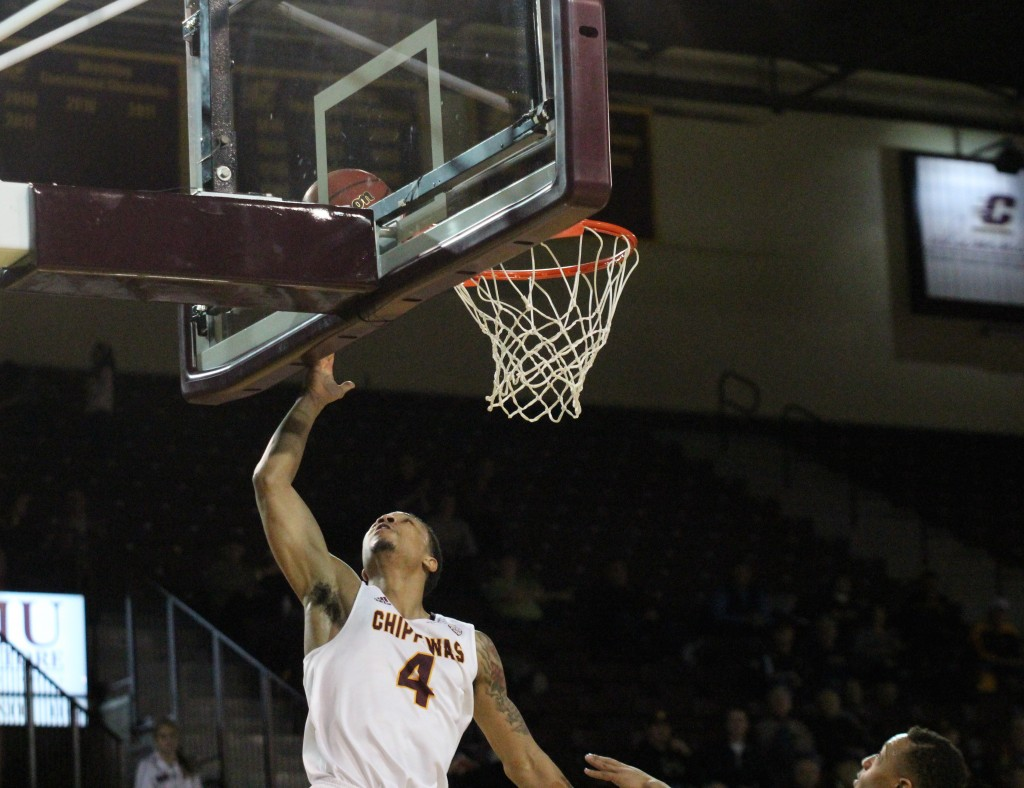 Guard Rayshawn Simmons goes up for the reverse layup in the 88-61 win against Kent State at McGuirck Arena on the campus of Central Michigan University on February 3, 2016.