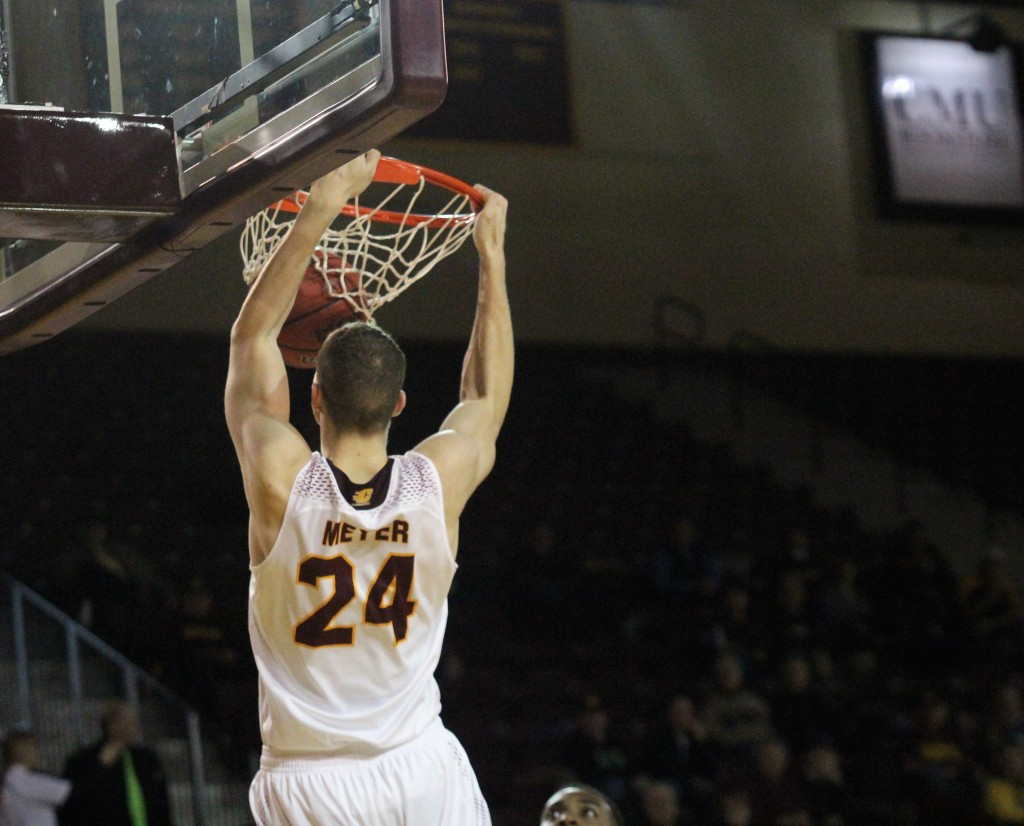Guard Luke Meyer (24) dunks the ball in the win against Kent State at McGurick Arena on the campus of Central Michigan University on February 3, 2016.