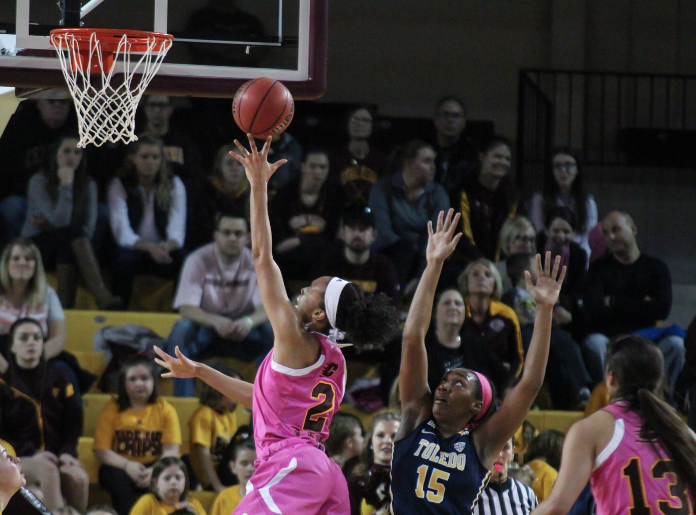 Forward Tinara Moore (2) goes up for layup in the first quarter against Toledo at McGurick Arena on Saturday, Feb. 20.