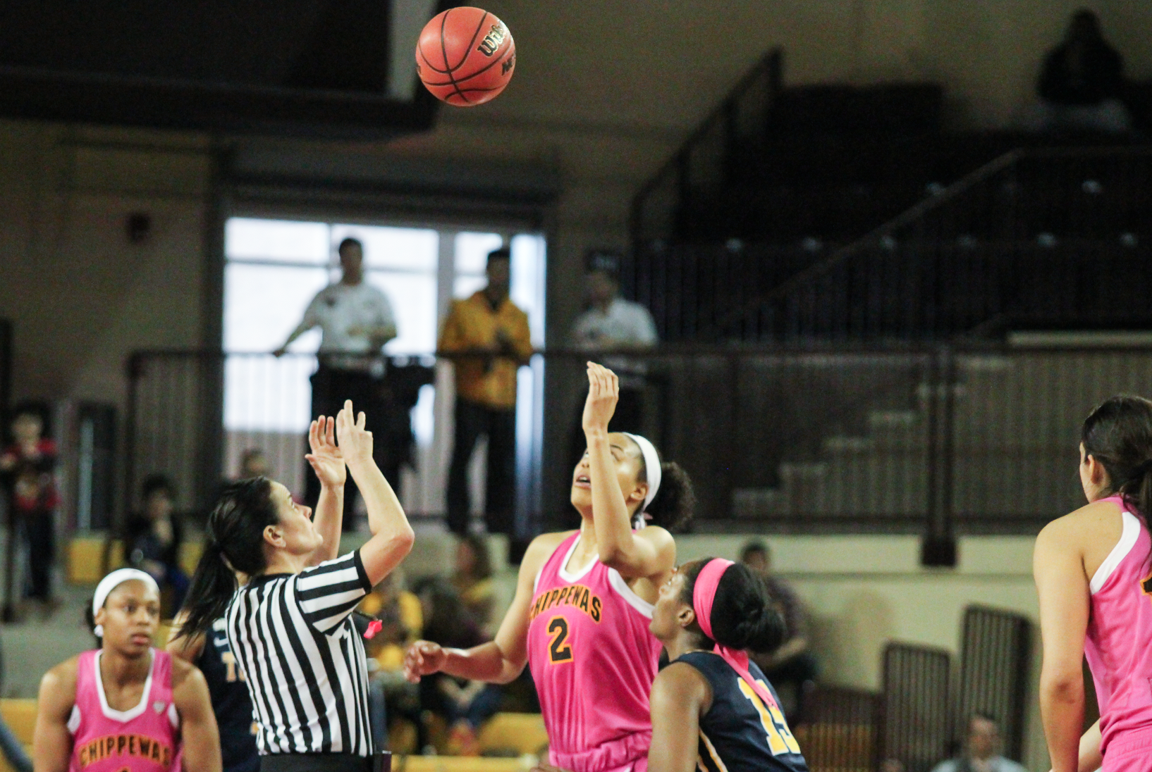 Forward Tinara Moore (2) takes tip-off in overtime against Toledo at McGurick Arena on Saturday, Feb. 20.