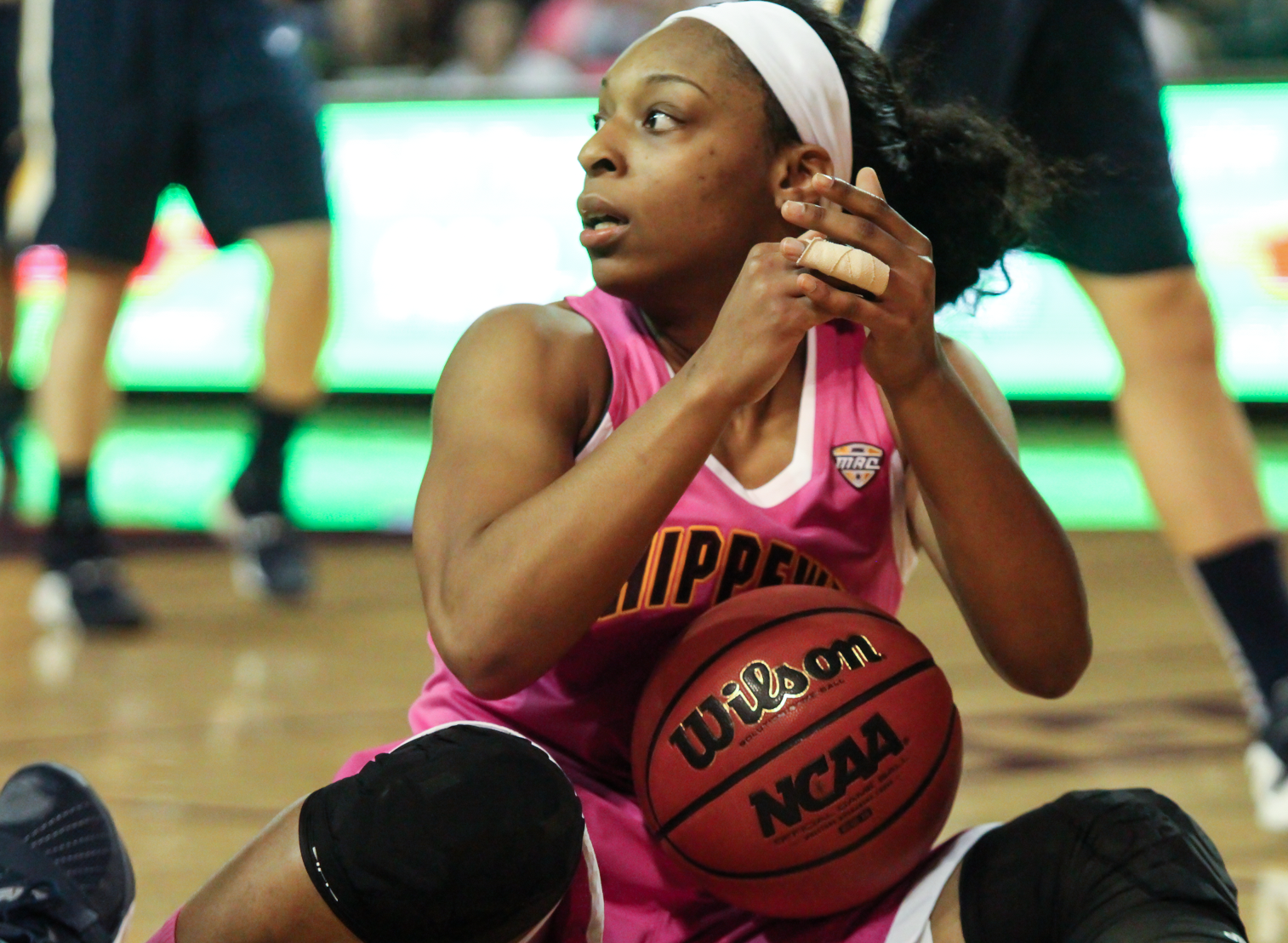 Guard Da'Jourie Turner (1) calls a timeout after stealing the ball in the fourth quarter against Toledo at McGurick Arena on Saturday, Feb. 20.