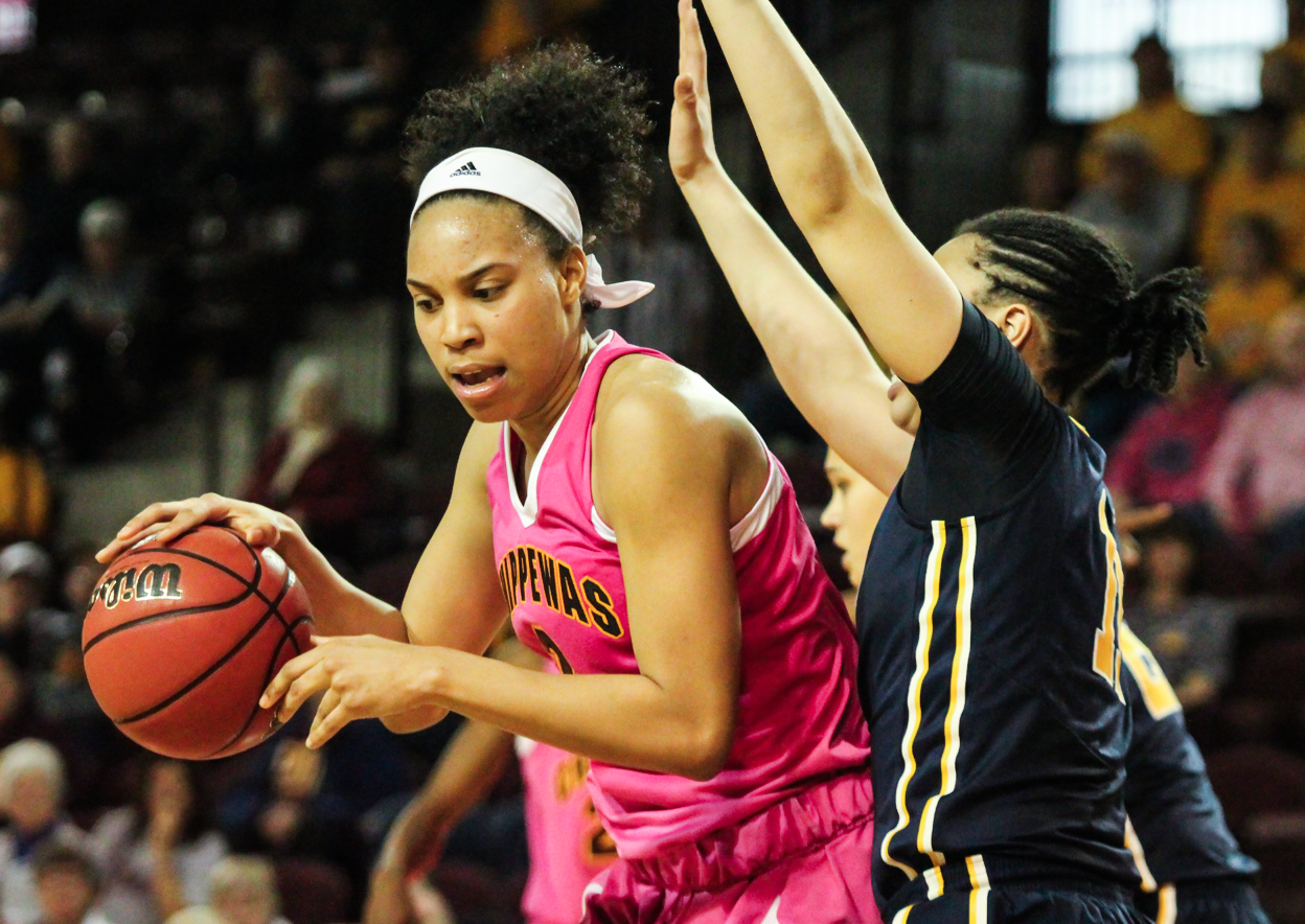 Forward Tinara Moore (2) works the paint in the 81-70 loss to Toledo at McGurick Arena on Saturday, Feb. 20.