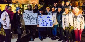 Students stand in solidarity after racist situation against students of color